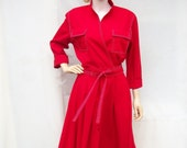 80s Red Dress size Medium Large Surplice Wrap Full Skirt Dress
