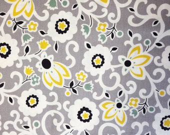 Tapestry Floral fabric, Denyse Schmidt, New Bedford yardage, sun color, gray and yellow, Free Spirit Fabric, choose cut, supply
