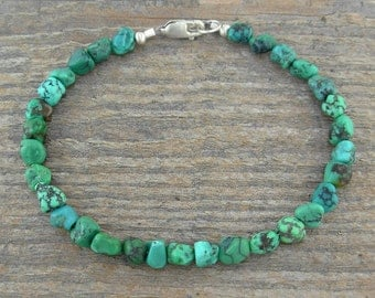 Turquoise Nuggets Anklet - Natural Stone Ankle Bracelet for Men or Women - Sizes Small to X-Large