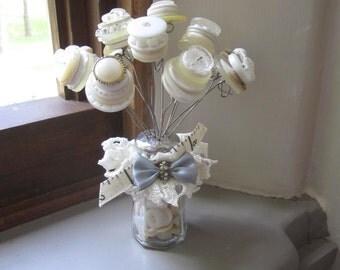 Altered Salt Shaker - Button Bouquet - Ivory Button Decor - Bridal Button Bouquet