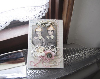 Sister Card - Shabby Chic Card - Victorian Card - Twin Card
