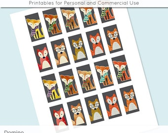 Fox Watercolor Glitter 1x2 Domino Collage Sheet Digital Image for Domino Pendants Magnets Scrapbooking Journaling JPG D0075