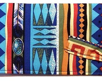 Southwest Blues Browns Stripes - Check Book Cover, Pen Holder, CheckBook Case, Check Book, Register Holder