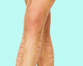 Christmas sale, Gold lace tights, La Boheme model, sheer nude tights S-M, L-XL