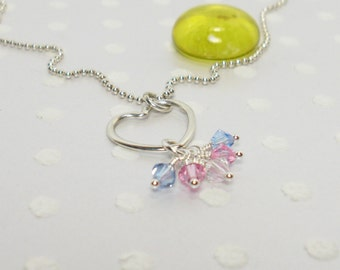 Transgender LGBT Pride Flag - Trans Woman - Handmade Necklace – Crystal Necklace - Custom Jewelry – Sterling Silver Necklace