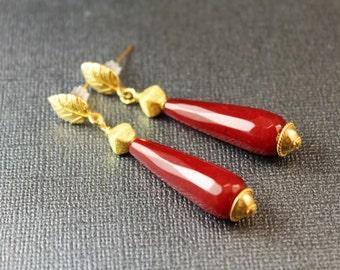 Alyssia Red Jade Long Teardrop and Genuine Bali Vermeil Victoriana Dangle Earrings