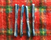 Art Deco Era Vintage Tinsel Gift Ribbon - Royal Blue & Silver Tinsel - B. Wilmsen Philadelphia 1920s 1930s - New Old Stock - 9 foot lengths