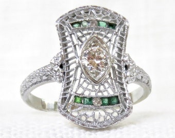 Art Deco 18k Gold Diamond and Emerald Dinner Ring .43 Carats