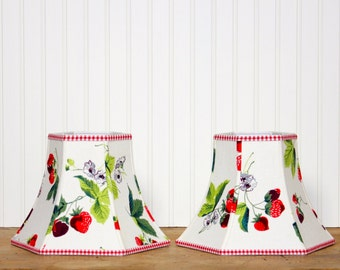 Cottage Lamp Shade - Vintage Fabric -Strawberries - Red and White - Lampshade - Gingham - Kitchen Decor - Cottage Style - Small Lamp Shade