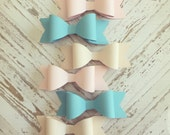 Half Dozen Paper Bows Pink Blue Beige