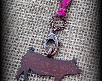 "Rustic Metal Show Hog, Pig on Silk  Necklace 27"""