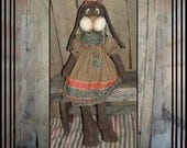 Primitive folk art Tall Primitive brown wooly country style rabbit rag doll bunny HAFAIR OFG faap