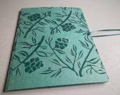 Hand-Printed Portfolio, aqua with green hemlock print, botanical print paper file, paper storage, on sale!