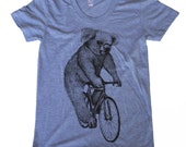 Womens Koala on a Bicycle - Ladies Athletic Blue American Apparel T Shirt