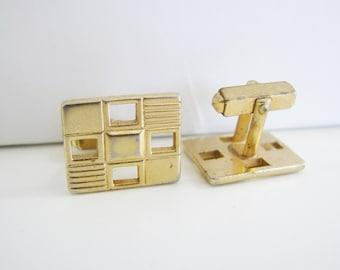Vintage Anson gold  rectangle window cuff links (K1)