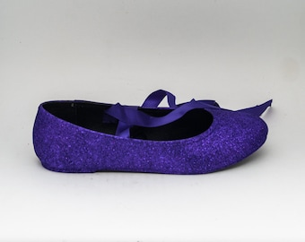 Glitter | Passion Purple Ballet Flat Slipper Custom Shoes with Ankle Ribbons