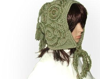 Freeform Crochet Pixie Hood, in Olive & Sage Green tones, Wearable Art, OOAK Freeform Crochet