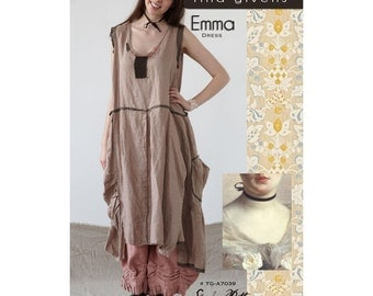 Emma Dress Sewing Pattern by Tina Givens- Lagenlook Style! TG-A7039- Sizes 2-22!