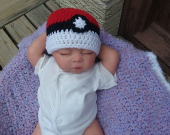 Pokemon Inspired Beanie, Newborn to 3 Months, Ready to ship
