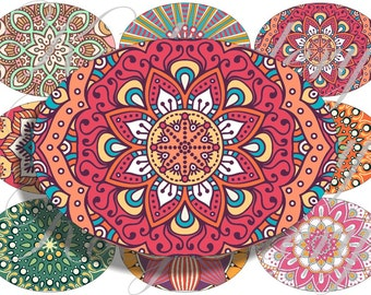 Mandalas in large oval for belt buckle and more digital collage sheet No.1673