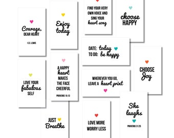 Mini Inspirational Quote Cards  //  Collection #2  //  Mini Lunchbox Notes //  Encouragement Cards //  Digital Print  //  Instant Download