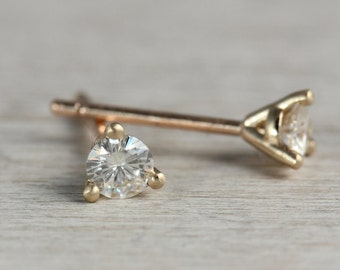 Martini Stud Earrings - .10ct Diamond or Moissanite in 14k Gold - Simple and Elegant 3mm Post Earrings - Minimal and Classic Jewelry