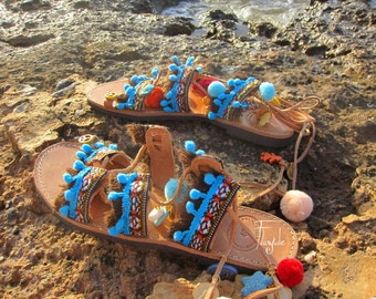"""Pom pom sandals/Tie Up Gladiator Sandals-FREE SHIPPING-Greek Leather/Bohemian Sandals/Lace up Ethnic Sandals/Decorated Sandals """"ANTHEIA"""""""