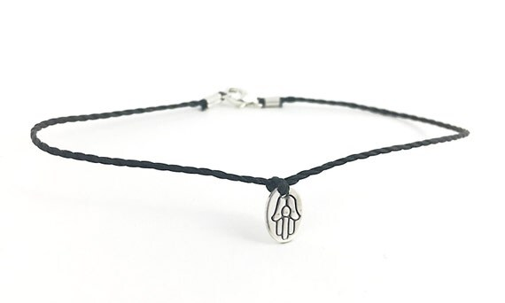 Hamsa.  Sterling Silver Hand Stamped Hamsa Bracelet on Cord.