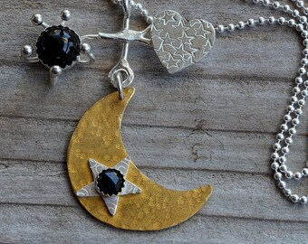 Gold crescent half moon necklace pendant black onyx natural stone necklace, heart necklace, star necklace, celestial jewelry, artisan