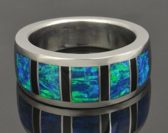 Lab Created Opal Ring with Black Onyx Inlaid In Sterling Silver