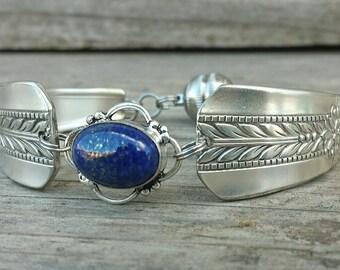 Gorgeous Antique Spoon Bracelet With Lapis
