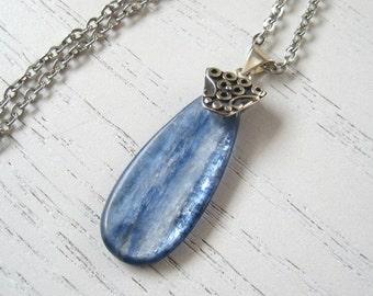 Teardrop Shaped Kyanite Pendant Necklace
