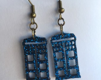 Shiny glitter TARDIS earrings