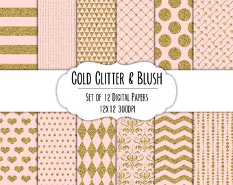 Gold Glitter & Blush Digital Scrapbook Paper 12x12 Pack - Set of 12 - Polka Dots, Chevron, Hearts, Damask - Instant Download - Item# 8278