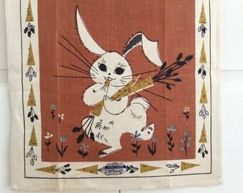 Linen Tea Towel Rabbit Carrots Easter Bunny NOS New Old Stock