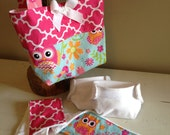 Dolly Diaper Bag in Pretty Pink Owls