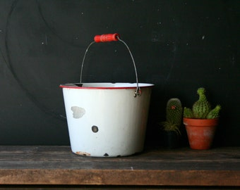 Vintage Bucket Rustic Pail White and Red Enamel With Red Wood Handle Vintage From Nowvintage on Etsy