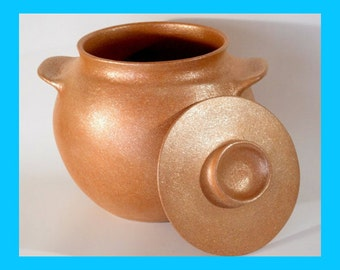 Southwestern Bean Pot, 5.25 qt. Handcoiled Micaceous Cookware, Clay Pot , Pottery Casserole, Clay Cooking Pots