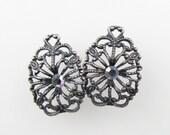 Vintage Filigree Charm Swarovski Crystal Rhinestone Aurora Borealis Antiqued Silver Drop uvf0388 (2)
