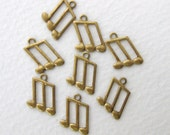 Vintage Musical Note Charm Brass Music Finding 12.5mm chm0143 (8)