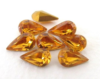 Vintage Rhinestone Swarovski Crystal Pear Topaz Teardrop Jewel 10x6mm swa0730 (8)