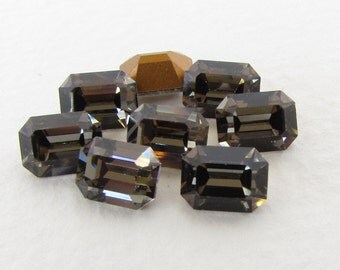 Swarovski Crystal Vintage Rhinestone Black Diamond Octagon Jewel 8x6mm swa0694 (8)