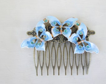 Vintage Light Blue Peridot Green Butterfly Hair Comb