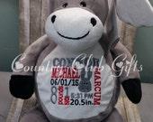 Personalized baby gift, birth announcement, plush, stuffed animal donkey,embroidery, keepsake, baby subway art, donkey