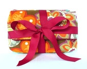 zip pouch gift set - secret garden - bold, abstract floral print in fall colors