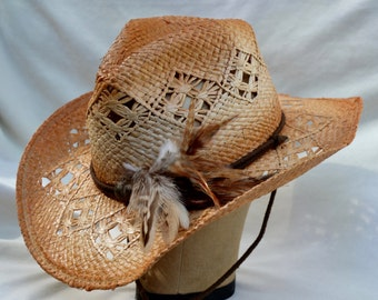 Straw Cowgirl Hat /  Cowboy Hat / Victorian Cowgirl Hat / Cowgirl Hat With Feathers /Antiqued Raffia Cowgirl Hat With Strap