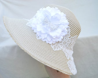 Straw Large Brim Sun Hat / Womens Straw Hat / Straw Hat With Lace And Flower / Packable Sun Hat / Garden Party Hat