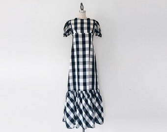 Vintage Bold Black & White Long Gingham Maxi Dress - 6/8