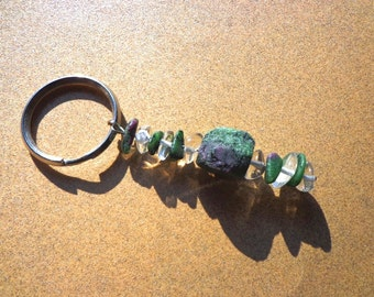 Ruby in Zoisite Key Ring, Gemstone Nuggets and Chips with Crystal Quartz on Split Ring, Comfort Stone, Healing Stones, Mental Energy Stone