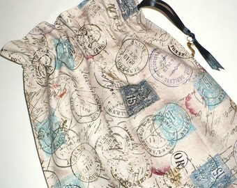 Shoe Bag, Travel,  Postmark Paris, drawstring bags, cotton, set of 2, storage bag, neutral